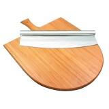 Набор для подачи пиццы 35 см (доска бамбуковая с ручкой + нож)