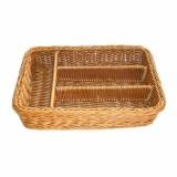 Подставка для столовых приборов плетеная коричневая, 4 отделения, 36*25*7,5 см, ротанг