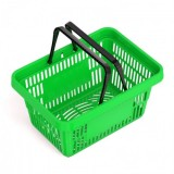 Корзина покупательская пластик SBP20 (440х305х200мм, 20л, 2 черн. ручки, зеленая)